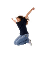 Jumping Joyful Teenager Girl