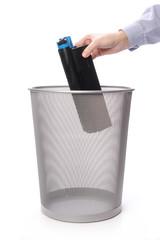 Trashing used laser printer cartridge