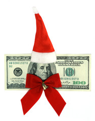 100 dollars banknote dressed in Santa's uniform