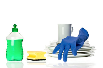 dinnerware and cleaning utensils isolated on white background