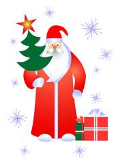 Santa with gifts.