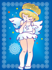 Shy angel with background