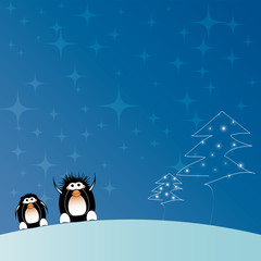 Christmas tree with penguins