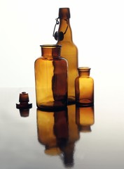brown glass bottles still life