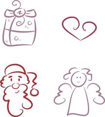 Vierteiliges Set: Weihnachts-Illustrationen