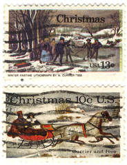 rare classical Collectible stamps USA with christmas picture