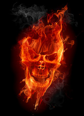 Aluminium Prints Flame Fire skull