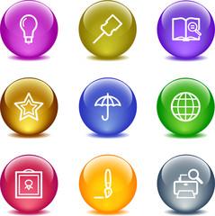 Color glass ball web icons, set 9