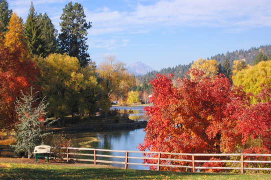 Fall Foliage, Deschutes River at Drake Park in Bend, Oregon