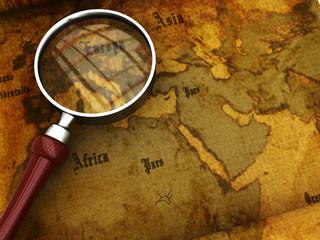 ancient map closeup