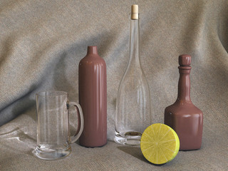 A still life with a beer cup, pottery, wine bottle and lemon