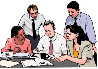 bureau, collaborateurs