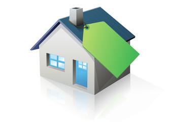 Maison et étiquette verte (reflet)