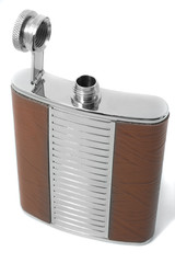Opened metal flask for alcohol