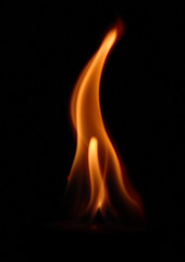 flame on the black background