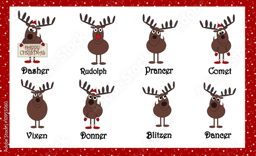 Santas Cartoon Reindeers With Names Stock Photo And Royalty Free