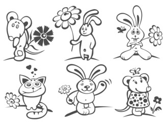 cartoon animals with flowers