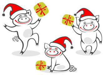 cartoon christmas piggies