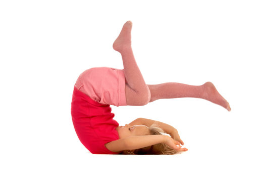 young girl doing a somersault