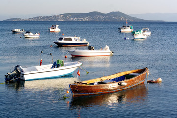 Boats against Princes Island - Istanbul