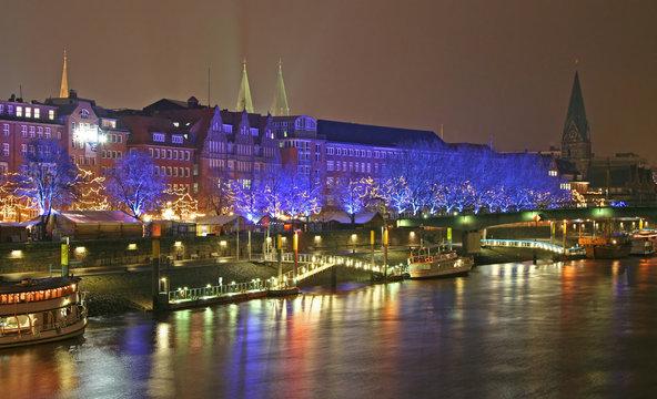 Schlachtezauber in Bremen am Abend