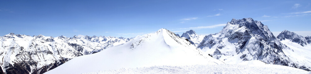 Panorama Caucasus Mountains. Dombaj. Ski resort