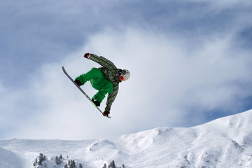 Snowboarder performing freestyle element