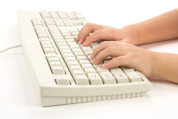 Child hand and Keyboard