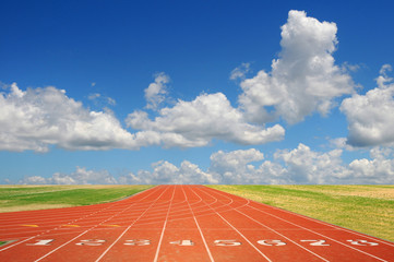 Running Track with Clouds