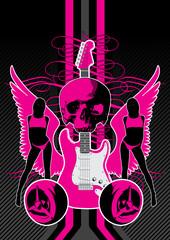 Guitar motif featuring wings, women and skull.