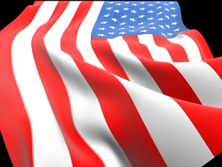 American flag with folds and waves