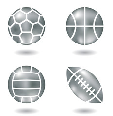 metal balls icons isolated on a white background