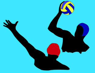 water polo silhouette with background - vector