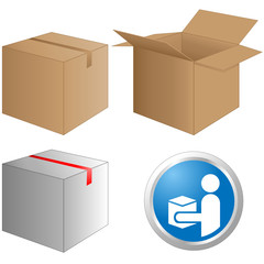 Paket, Post, Paketzusteller-Button