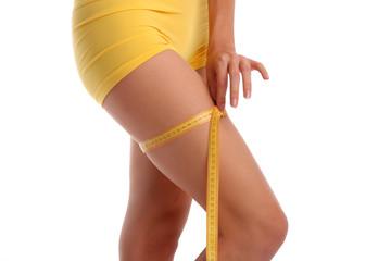 Woman measures a hip