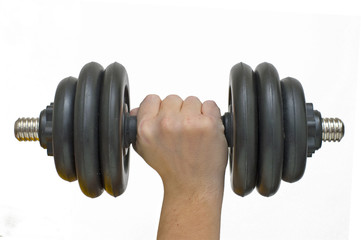 Hand with dumbbells.
