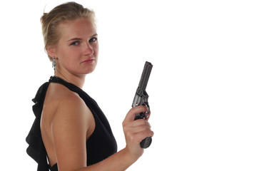 young blond woman in black dress with revolver