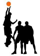 entre-deux au basket, début du match, vecteur