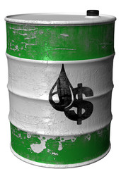 Barrel with a symbil of money=oil