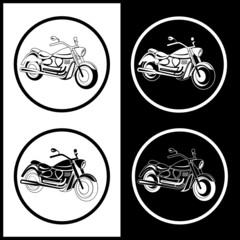 Vector motorcycle icons. Black and white. Simply change.