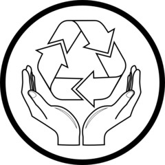 Vector recycle symbol in hands icon. Black and white.