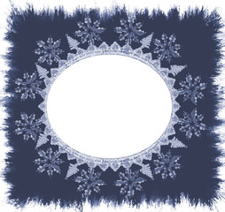 Christmas Snowflake Detailed Oval  Frame - isolated clipping