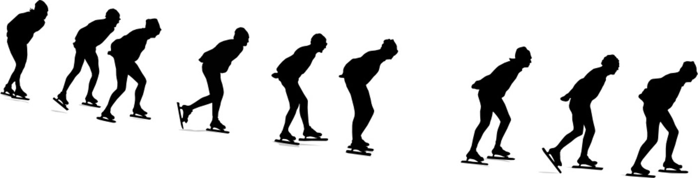 long track speed skating, vector silhouette