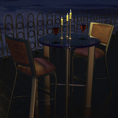 Two Glasses of Wine, Candle-lit at dusk