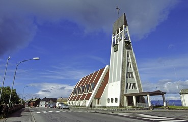 Foto op Canvas Scandinavië Kirche in Hammerfest, Norwegen