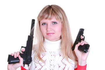 Young girl with two guns