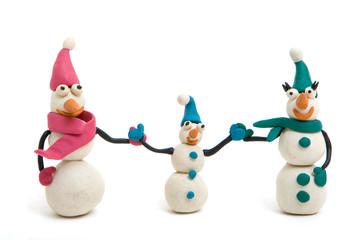 plasticine family of snowmen