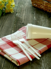 Picnic, plastic dishware and napkin on wooden