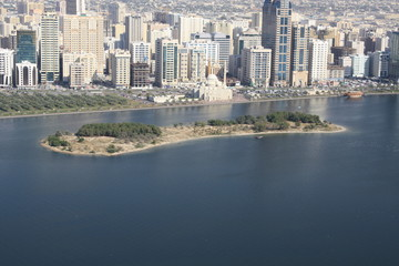 Small Island Sharjah Buheirah Corniche Birds Eye View