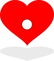 cuore rosso con foro